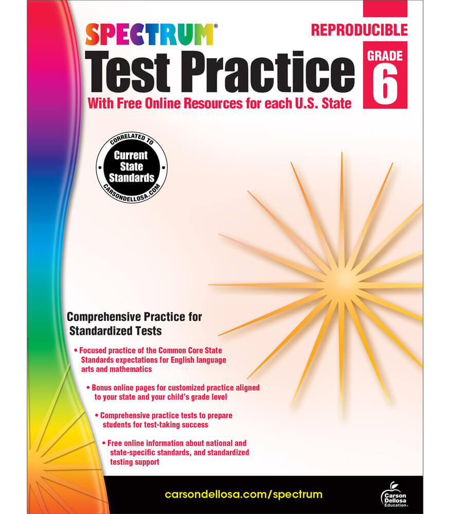 worksheet Carson-dellosa Worksheets spectrum test practice workbook grade 6 carson dellosa publishing workbook