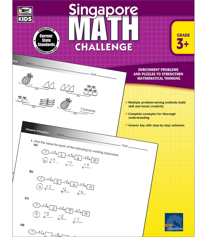 worksheet Carson-dellosa Worksheets singapore math challenge workbook grade 3 5 workbook