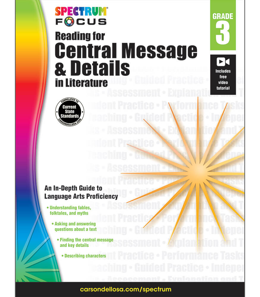 Spectrum Focus: Reading for Central Message and Details in Literature Workbook Product Image