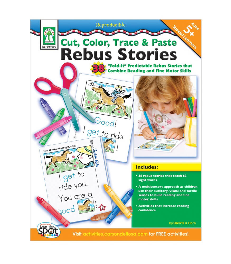 Cut, Color, Trace & Paste Rebus Stories Resource Book Product Image