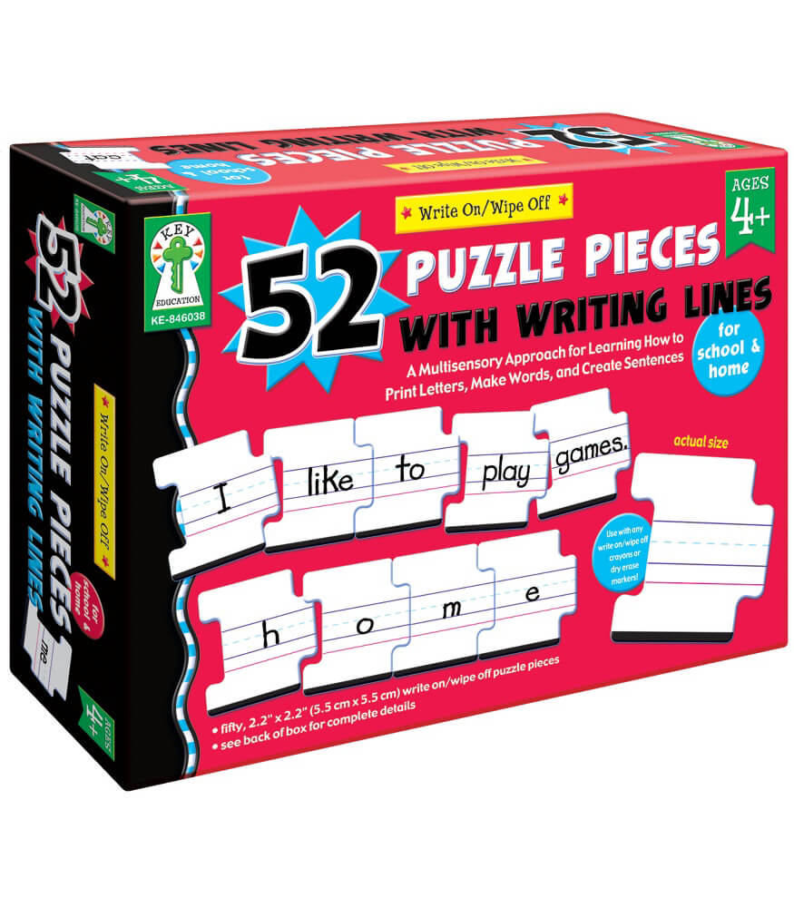 Write-on/Wipe-Off: 52 Puzzle Pieces with Writing Lines Manipulative Product Image