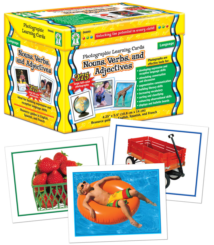 Nouns, Verbs and Adjectives Learning Cards Product Image