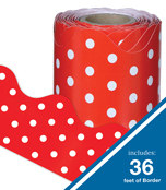 Red & White Dots Rolled Scalloped Borders Product Image