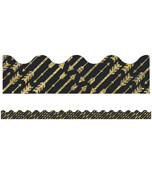 Gold Glitter Arrows Scalloped Borders Product Image