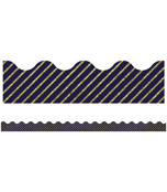 Gold Glitter and Navy Stripe Scalloped Borders Product Image