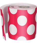 Red with Polka Dots Rolled Straight Borders Product Image