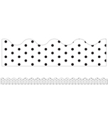 White with Black Dots Scalloped Borders Product Image