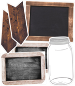 Industrial Chic Shiplap Chalkboard, Mason Jar, and Wooden Signs Printable Bulletin Board Set Product Image