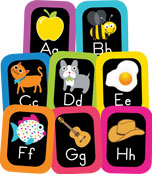 Just Teach NEON Alphabet Cards with Images Printable Bulletin Board Set Product Image