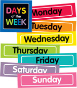 Just Teach NEON Days of the Week Printable Bulletin Board Set Product Image