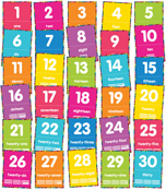 Just Teach NEON Number Cards 1-30 Printable Bulletin Board Set Product Image