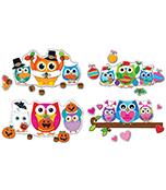 Celebrate with Colorful Owls Bulletin Board Set Product Image