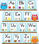 Colorful Owls Alphabet Mini Bulletin Board Set Product Image