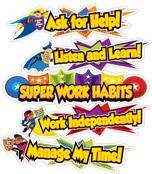 Super Power Super Work Habits Mini Bulletin Board Set Product Image
