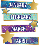 Galaxy Months of the Year Mini Bulletin Board Set Product Image