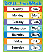 Days of the Week Chart Product Image