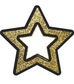 Gold Glitter Stars 3 inch Cut-Outs Product Image