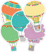 Up and Away Hot Air Balloons Cut-Outs Product Image