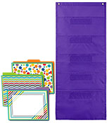 Color Me Bright File Folders and Purple Pocket Chart Organization Set Product Image