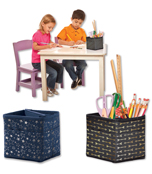Tabletop Storage: Black with Gold Polka Dots Pocket Chart Storage Product Image