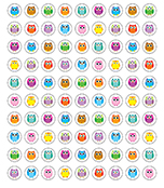 Colorful Owls Chart Seals Product Image