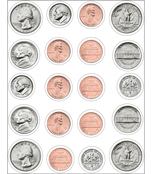 Money, U.S. Coins Shape Stickers Product Image