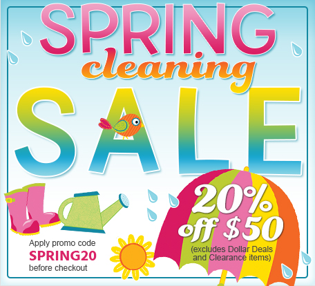 Spring Cleaning Sale 20% off $50